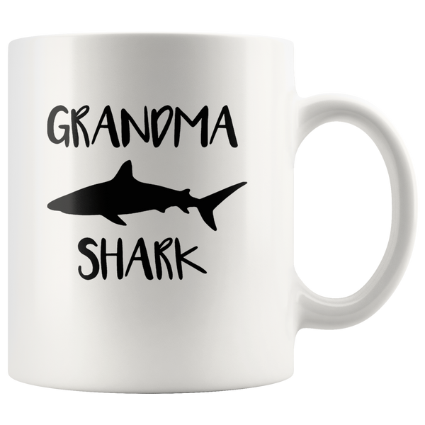 Grandma shark gift white coffee mug