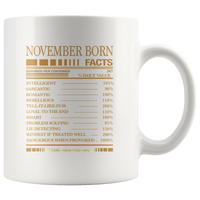 November born facts servings per container, born in November, birthday gift white coffee mug