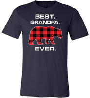 Red Plaid Best Grandpa Ever Bear Fathers Day Gift Funny T-shirt