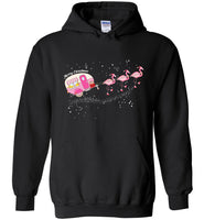 Merry Christmas camping flamingo funny T-shirt