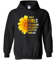 July girls are sunshine mixed with a little Hurricane sunflower T-shirt