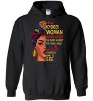 November woman three sides quiet, sweet, funny, crazy, birthday gift T shirt