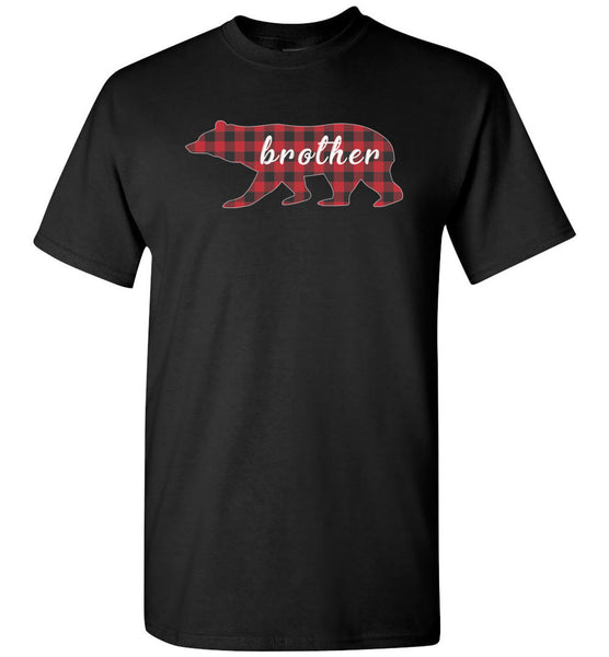 Red Plaid Brother Bear Matching Buffalo Family Pajama T-Shirt