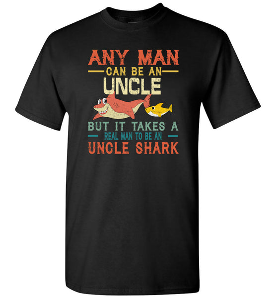 Vintage real man to be a uncle shark, gift tee for uncle