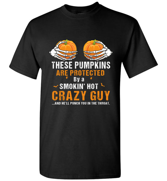 Pumpkins are protected by crayzy guy halloween skeleton hand t shirt