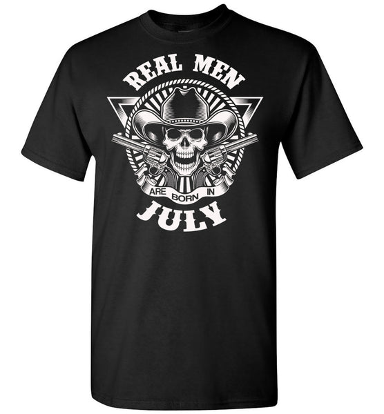 Real men are born in July, skull,birthday's gift tee for men