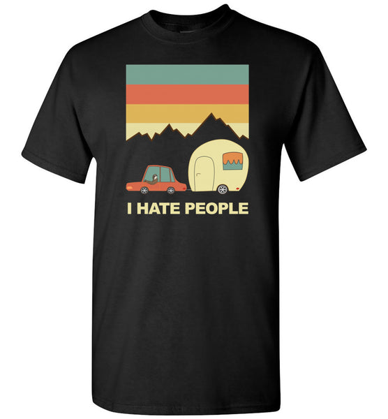 I hate people car camping, funny camping tee shirts