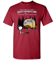 Snoopy welcome to camp Quitcherbitchin a certified happy camper tee