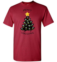 Star Merry Meowy Christmas Tree Black Cat Lover Funny Shirt