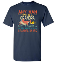 Vintage real man to be a grandpa shark t shirt, gift tee for grandpa