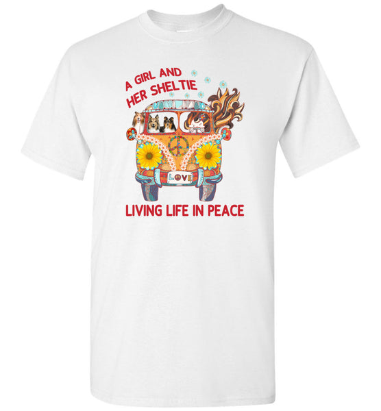 A girl and her sheltie living life in peace sunflower hippie car Tee shirt