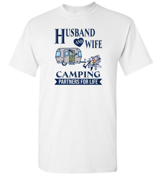 Husband and wife camping partners for life Tee shirt