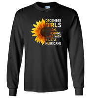 December girls are sunshine mixed with a little Hurricane T-shirt, birthday's gift shirt