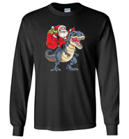 Santa Riding Dinosaur T-Rex Christmas Funny T shirt for men and women
