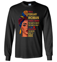 February woman three sides quiet, sweet, funny, crazy, birthday gift T shirt