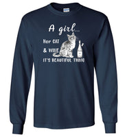 A girl her cat and wine it is beautiful thing T shirt