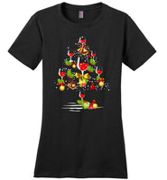 Wine xmas tree t shirt wine christmas tree shirt