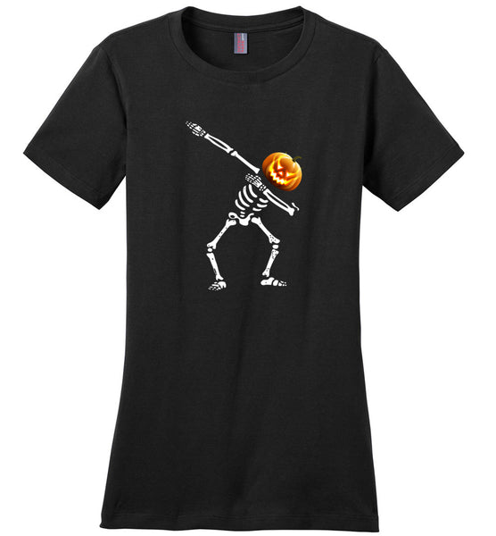 Dabbing skeleton pumpkin halloween t shirt gift