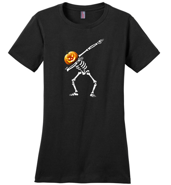 Dabbing pumpkin skeleton halloween t shirt gift