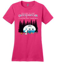 Snoopy welcome to camp Quitcherbitchin a certified happy camper tee shirt