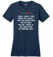 Dear santa i know i wasn't a good person this year, funny christmas T shirt