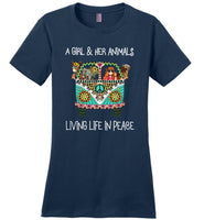 A Girl And Her Animals Living Life in Peace Tee Shirt