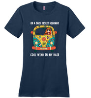 Hippie car, girl on a dark desert highway cool wind in my hair T-shirt