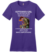 September Girl Warrior Princess Child Of God Prayers Move Mountains Birthday Gift T Shirt