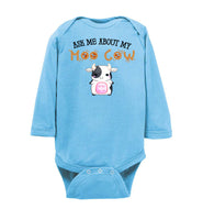 Ask Me About My Moo Cow Cute Baby Onesie Gift Baby Infant Bodysuit