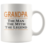 Grandpa the man the myth the legend, father's day white gift coffee mug