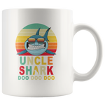Vintage Retro Uncle Shark doo doo doo white gift coffee mugs