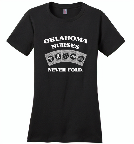 Oklahoma Nurses Never Fold Play Cards - Distric Made Ladies Perfect Weigh Tee