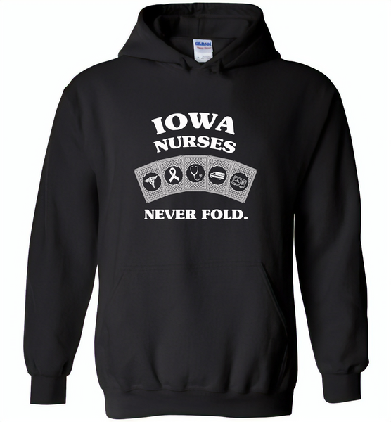 Iowa Nurses Never Fold Play Cards - Gildan Heavy Blend Hoodie