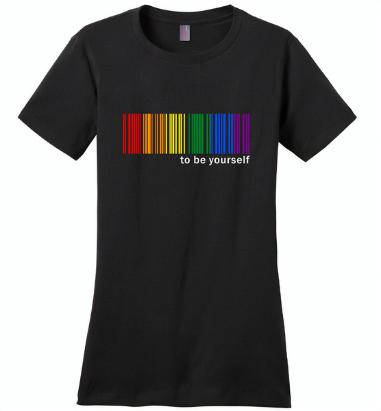 LGBT Barcode to be yourself rainbow gay pride - Distric Made Ladies Perfect Weigh Tee