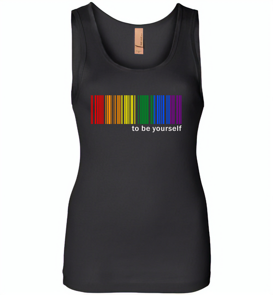 LGBT Barcode to be yourself rainbow gay pride - Womens Jersey Tank