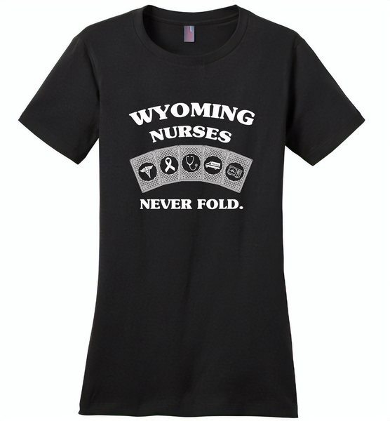 Wyoming Nurses Never Fold Play Cards - Distric Made Ladies Perfect Weigh Tee