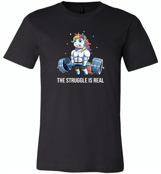 Unicorn Weightlifting Fitness Gym Deadlift Rainbow, The Struggle Is Real - Canvas Unisex USA Shirt