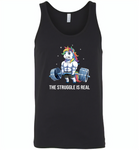 Unicorn Weightlifting Fitness Gym Deadlift Rainbow, The Struggle Is Real - Canvas Unisex Tank