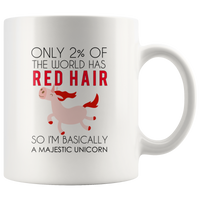 Only 2 Percent Of The World Has Red Hair SO I'm Basically A Majestic Unicorn White Coffee Mug