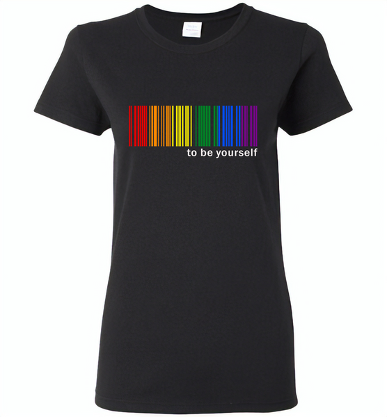 LGBT Barcode to be yourself rainbow gay pride - Gildan Ladies Short Sleeve