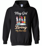 May girl living my best life lipstick birthday - Gildan Heavy Blend Hoodie