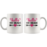 Hello 1st grade back to school white coffee mug