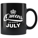 Queens are born in July, birthday black gift coffee mug