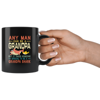 Someone special man to be a grandpa shark vintage, gift for grandpa black coffee mug