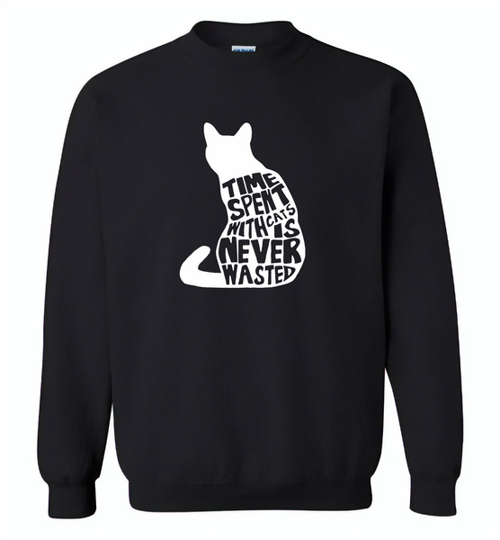 Time spent with cats is never wasted design - Gildan Crewneck Sweatshirt