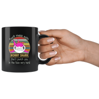 Don't mess with mommy shark, punch you in your face, mother's day black gift coffee mug