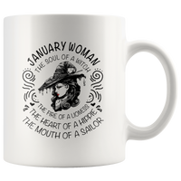 January Woman The Soul Of A Witch The Fire Lioness The Heart Hippie The Mouth Sailor gift coffee mug