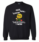 Rock Scissors Paper Throat Punch I Win, Sunflower Funny - Gildan Crewneck Sweatshirt