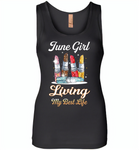 June girl living my best life lipstick birthday - Womens Jersey Tank