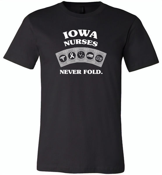Iowa Nurses Never Fold Play Cards - Canvas Unisex USA Shirt